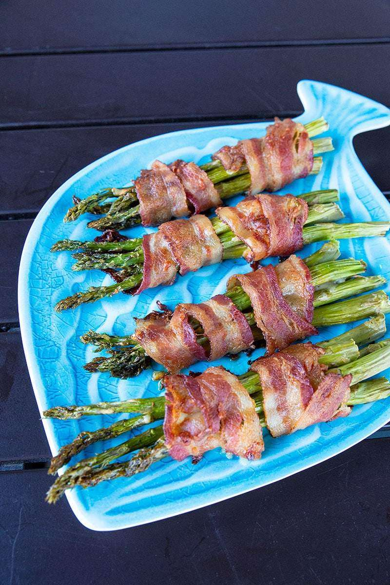 Bacon Wrapped Asparagus Bundles on a Fish Dish