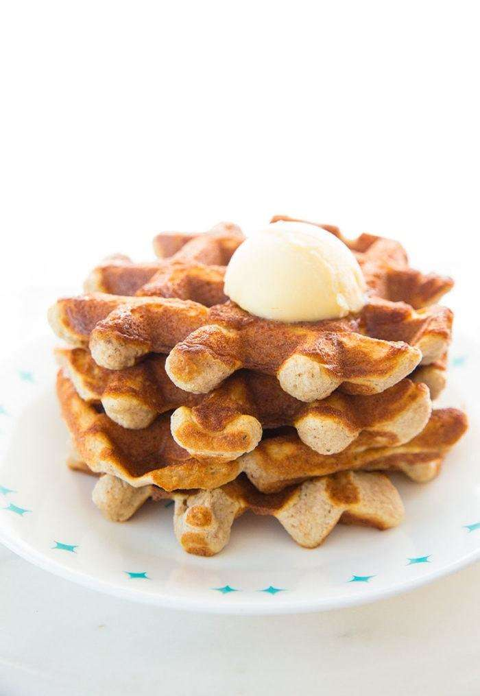 Crispy Cinnamon Almond Flour Low Carb Keto Waffles with butter on top