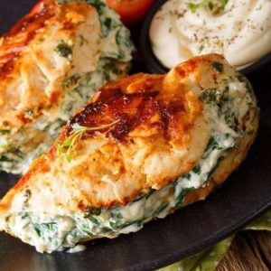 Spinach & Cream Cheese Stuffed Pan Fried Chicken