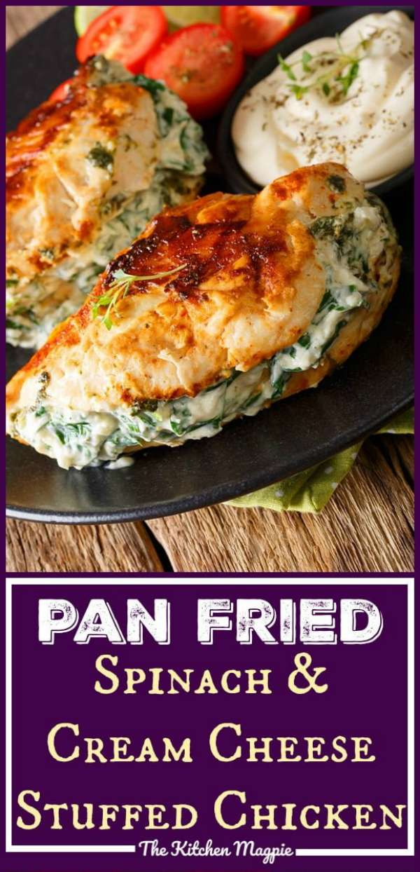 This Spinach & Cream Cheese Stuffed Pan Fried Chicken Breasts recipe is a delicious low carb/Keto chicken recipe that makes low carb eating easy! #lowcarb #lowcarbohydates #chicken #chickenbreasts #chickenrecipe #spinach #creamcheese #keto #dinner #supper