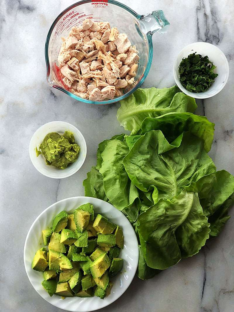 Avocado Chicken Salad Low Carb Lettuce Wrap Ingredients