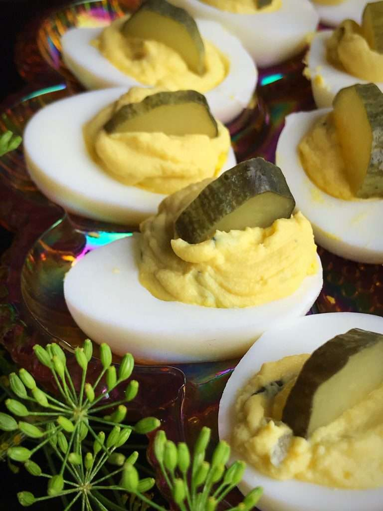 Close up of the dill pickle deviled eggs