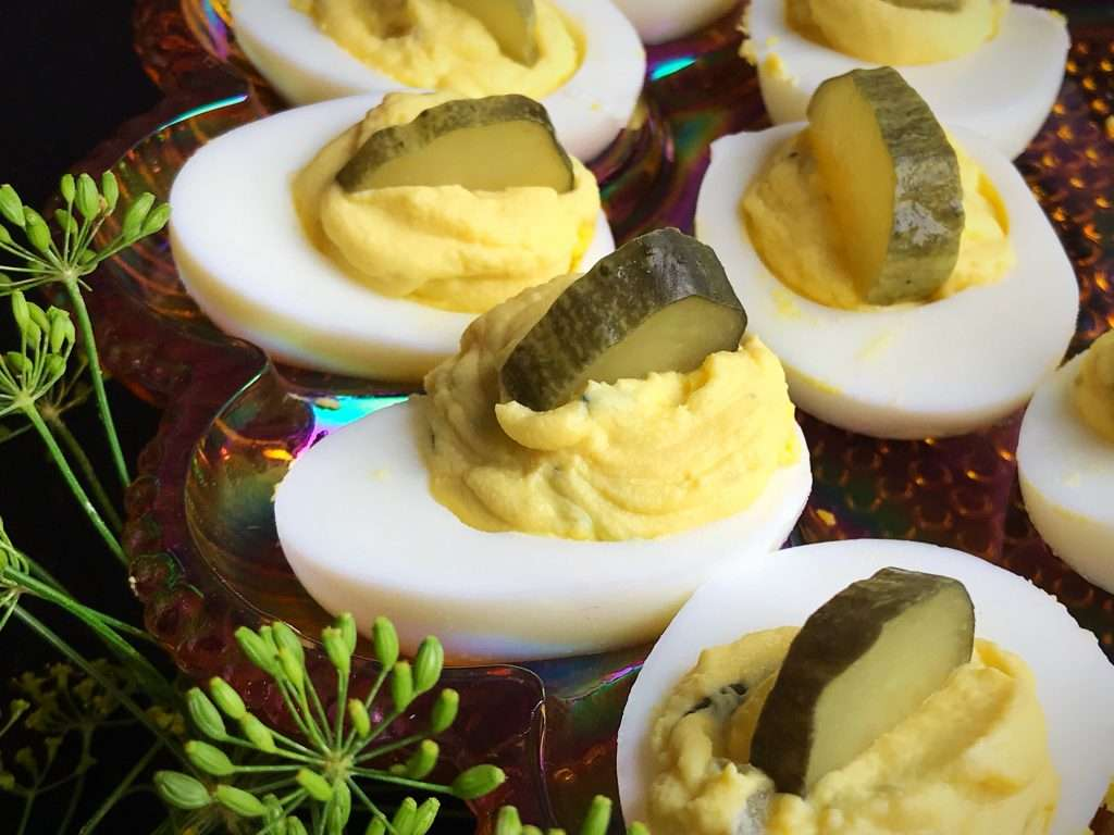 Dill Pickle Slices in a Deviled Egg