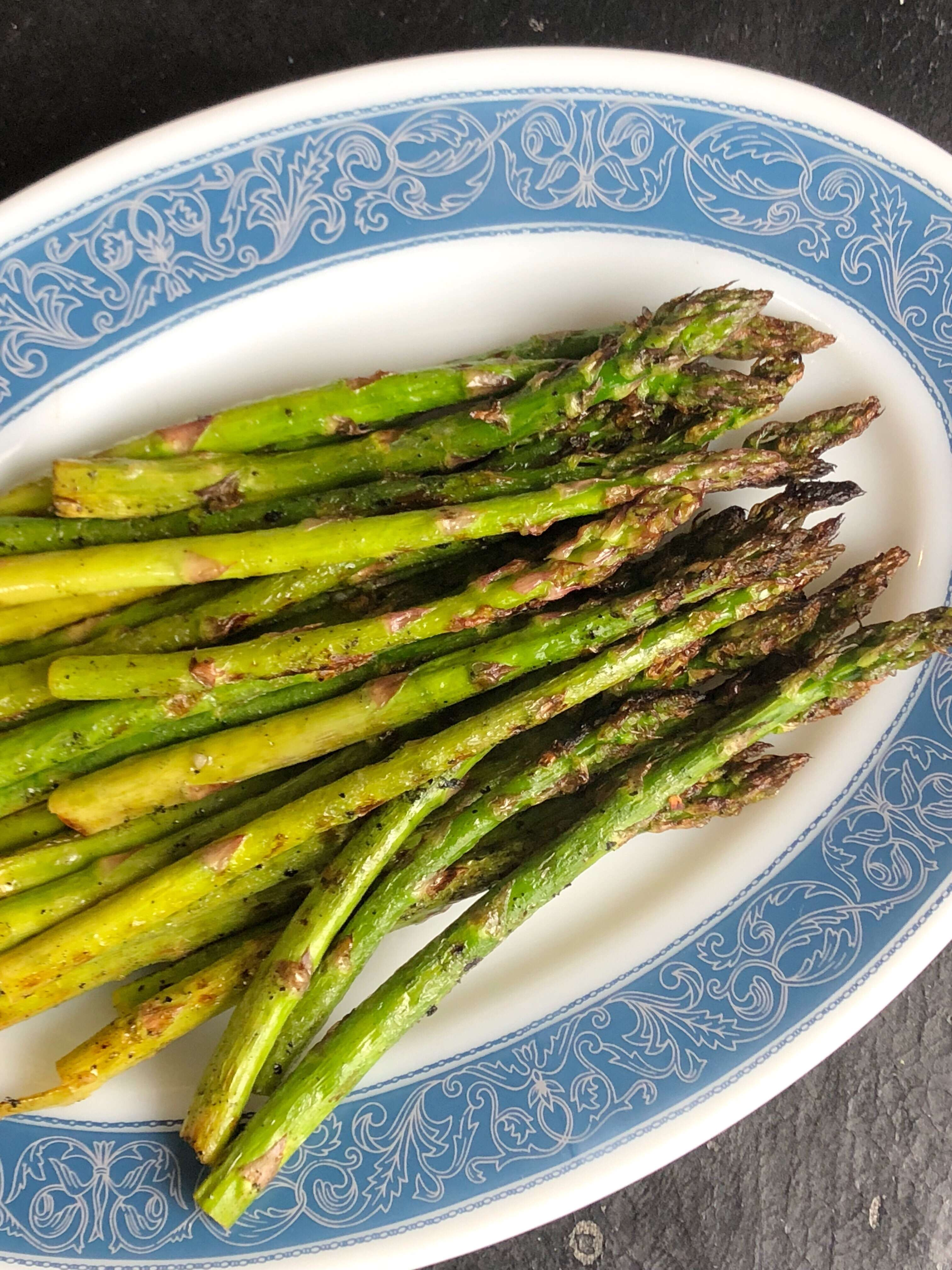 Garlic and Olive OIl Grilled Asparagus Served on a Platter