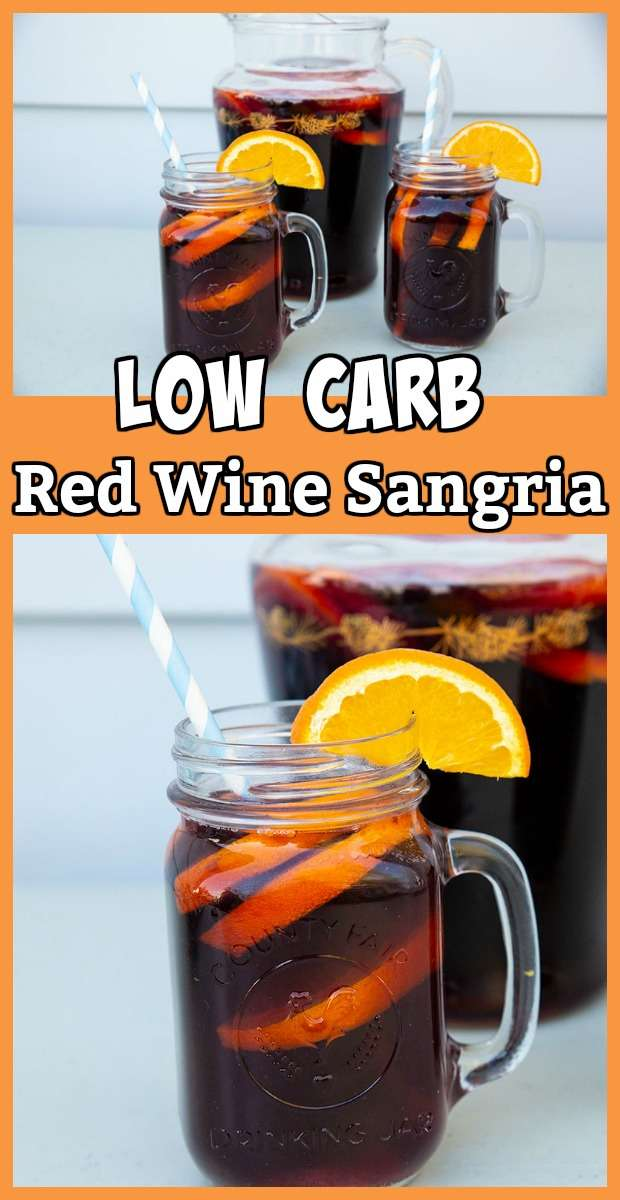 This low carb red wine sangria is the best of both worlds; you get the wine without breaking your low carb diet. #lowcarb #cocktails #wine #redwine #keto #lowcarbrecipes #recipes