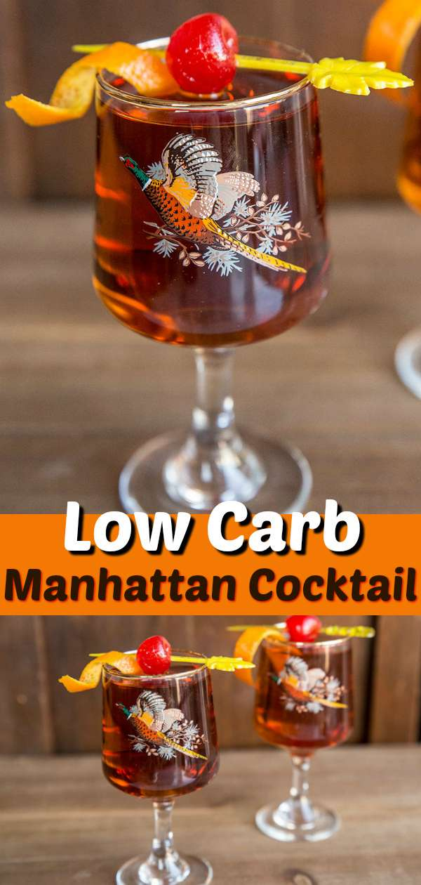 Get the perfect Manhattan Cocktail Drink Recipe, this whisky and vermouth based, sweet drink is great for sipping and is low carb and low sugar! #lowcarb #cocktail #drinks #recipe #keto #lowsugar #whisky #whiskey #vermouth #manhattan #recipe