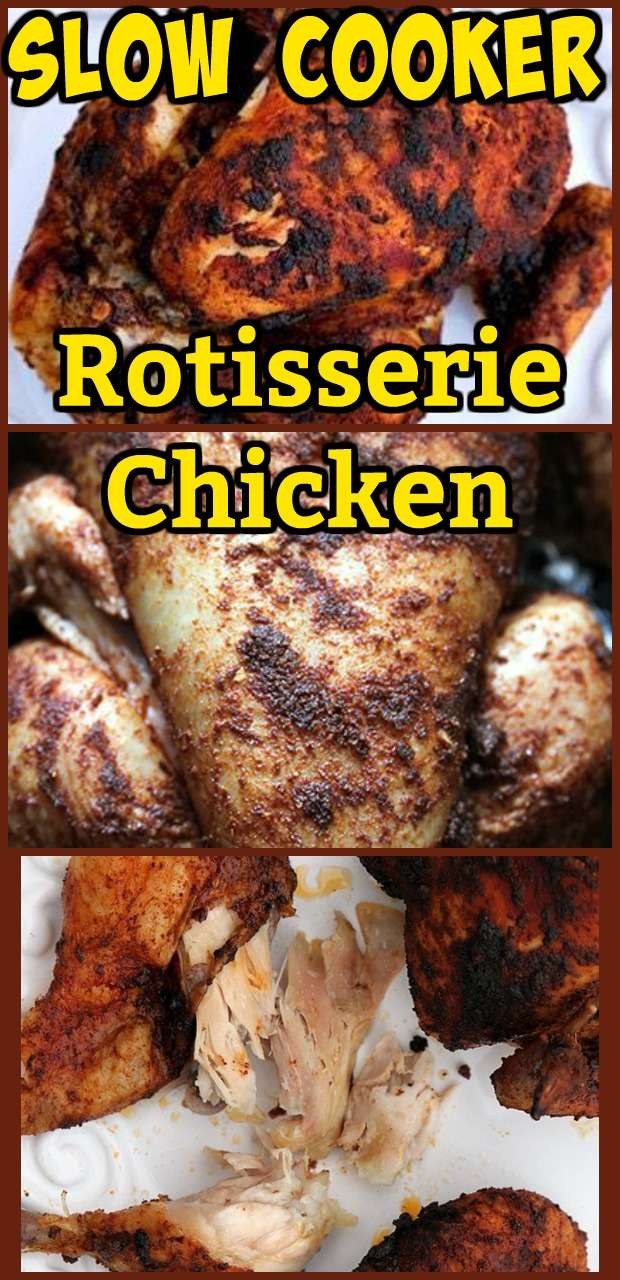 Slow Cooker Rotisserie Chicken #lowcarb #rotisserie #bbq #chicken #slowcooker #crockpot #recipes #recipe #dinner
