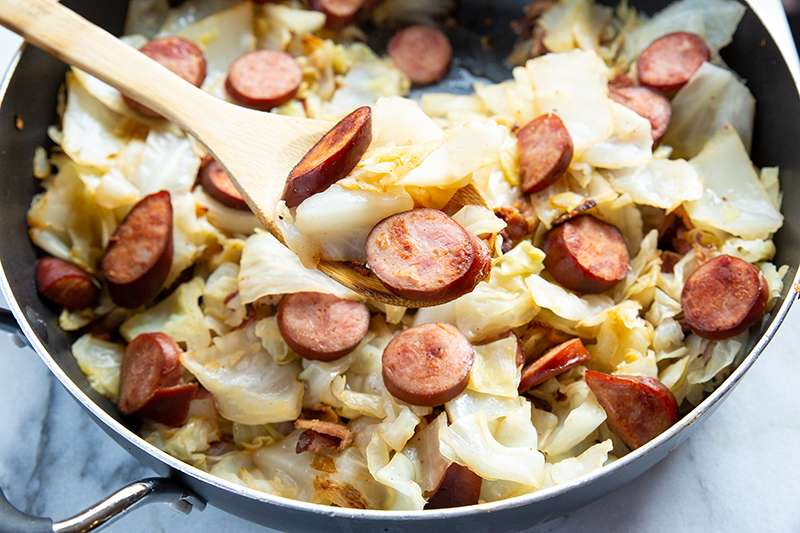 Fried Cabbage with Kielbasa in a Skillet