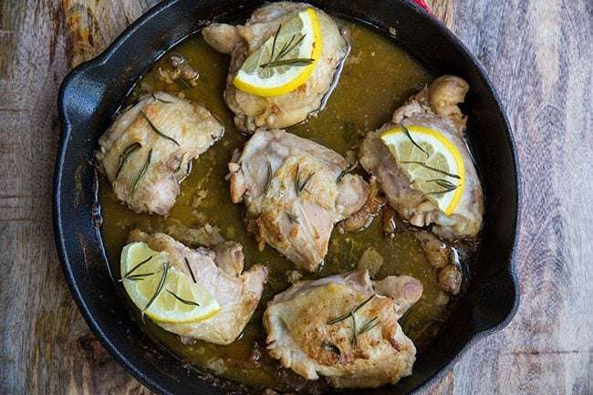 Lemon Rosemary Oven Baked Chicken Thighs