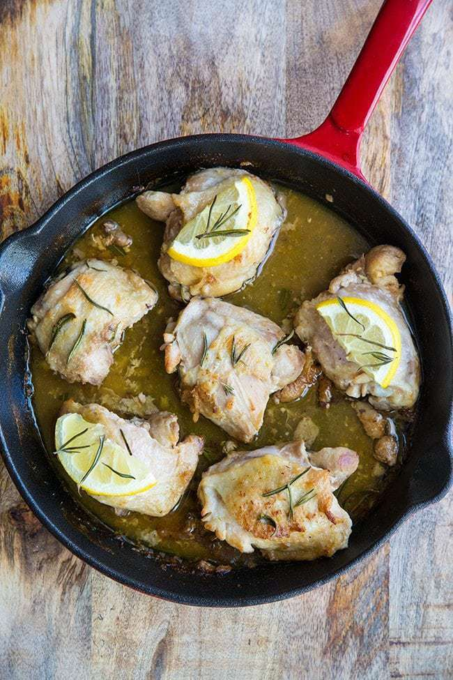 Close up of the lemon rosemary oven baked chicken thighs