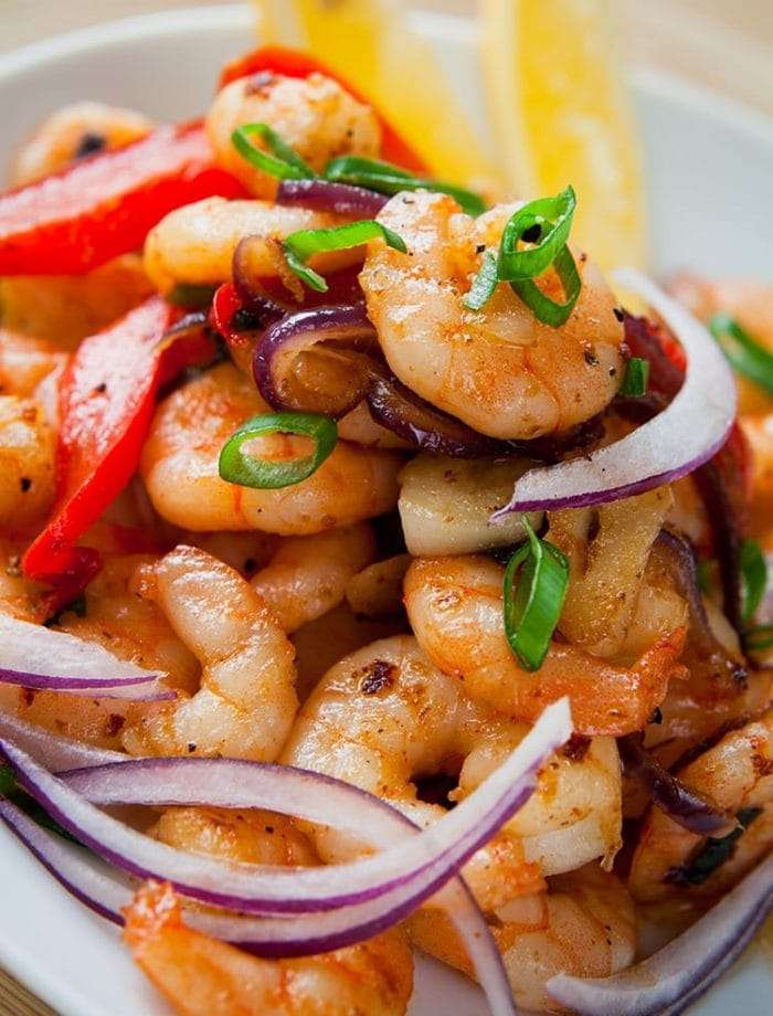 Close up of the finished Garlic Shrimp Stir Fry with Peppers and Onions