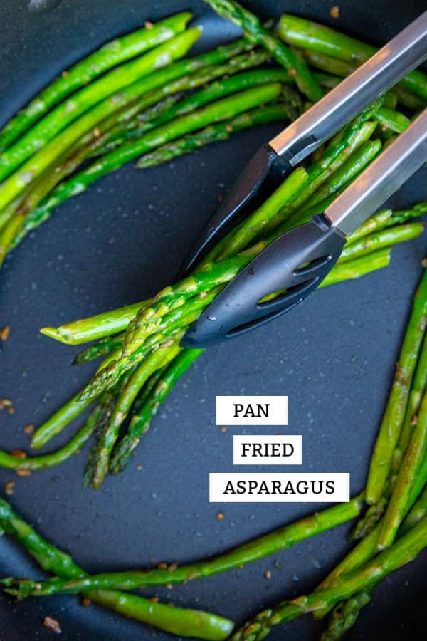 How to Pan Fry Asparagus so that it's tender-crisp, flavourful and fast! It's a great healthy side dish and low carb as well. #keto #lowcarb #vegetable #vegetarian #vegan #healthy #recipe #asparagus #greens #garlic #panfried #food