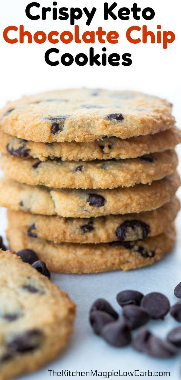 These are absolutely the best Low Carb/Keto Chocolate Chip Cookies that you are ever going to make! These are crispy, buttery cookies that will soon be your new favorite! #lowcarb #keto #chocolatechipcookies